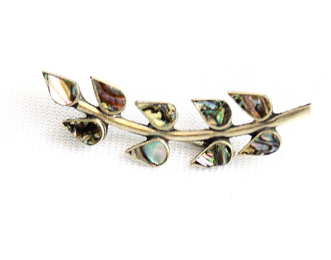 Mexican Silver Abalone Inlaid Leaf Brooch
