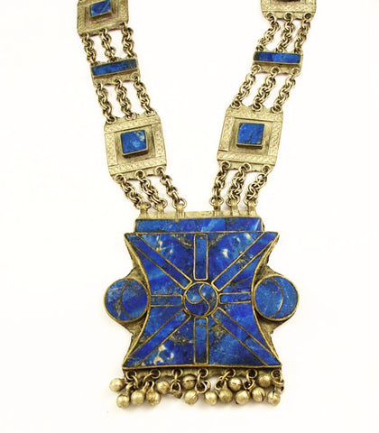Afghan Silver and Lapis Ethnic Necklace
