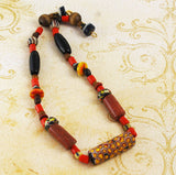 African Trade Bead Necklace BOHO