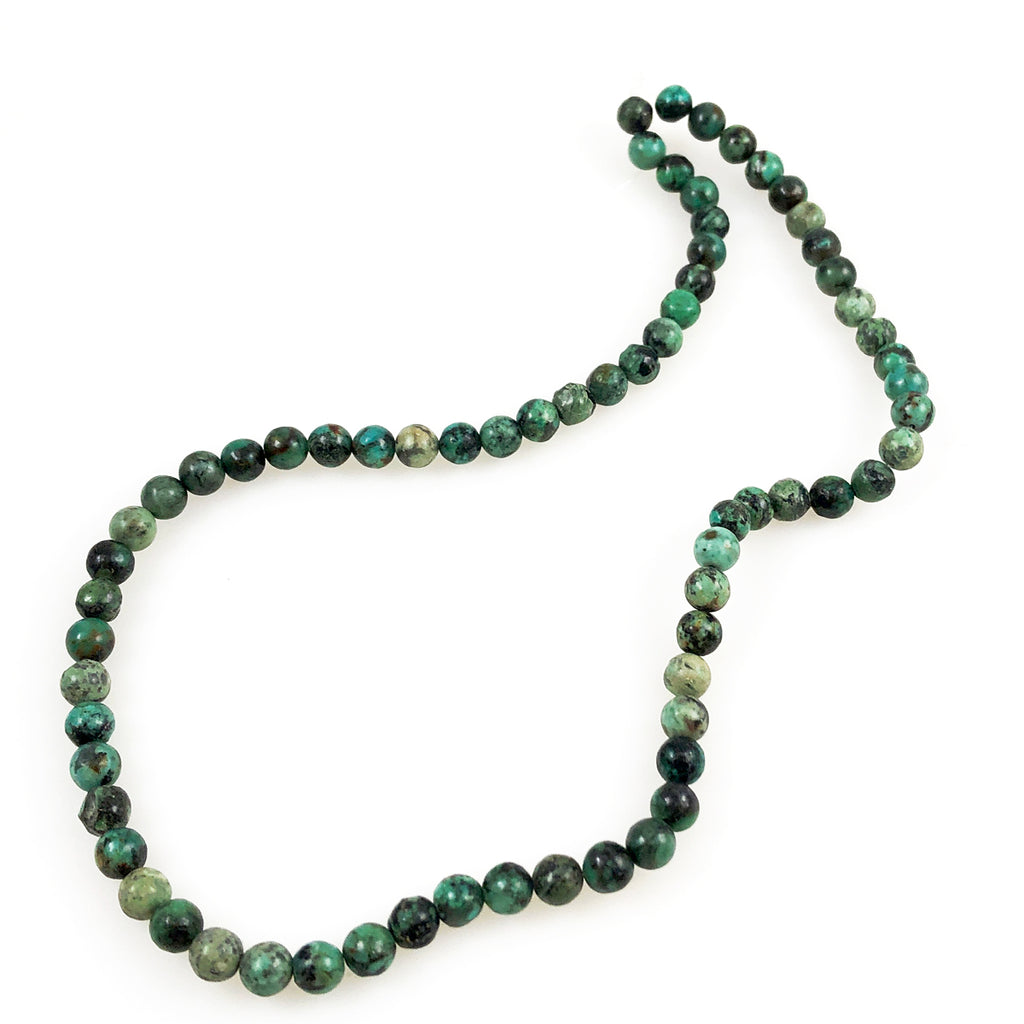 African Turquoise Round Bead Strands
