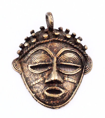 African Brass Baoule Face or Mask Pendant