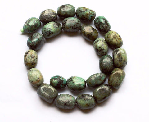 African Turquoise Rectangle Nuggets Strand