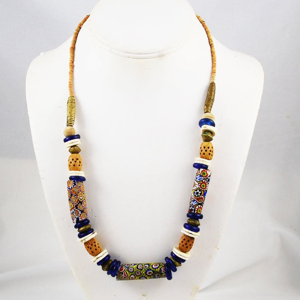 African Trade Millefiori Bead Necklace