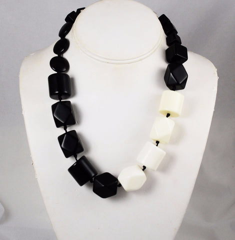 Alfani Chunky Black & White Lucite Necklace