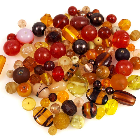 Brown amber glass bead mixture