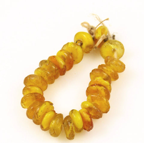Antique Honey Amber Rondelle Beads (12)