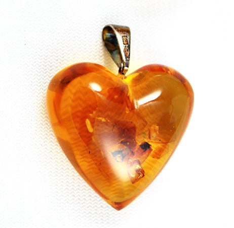 Puffy Amber & Sterling Heart Pendant Vintage