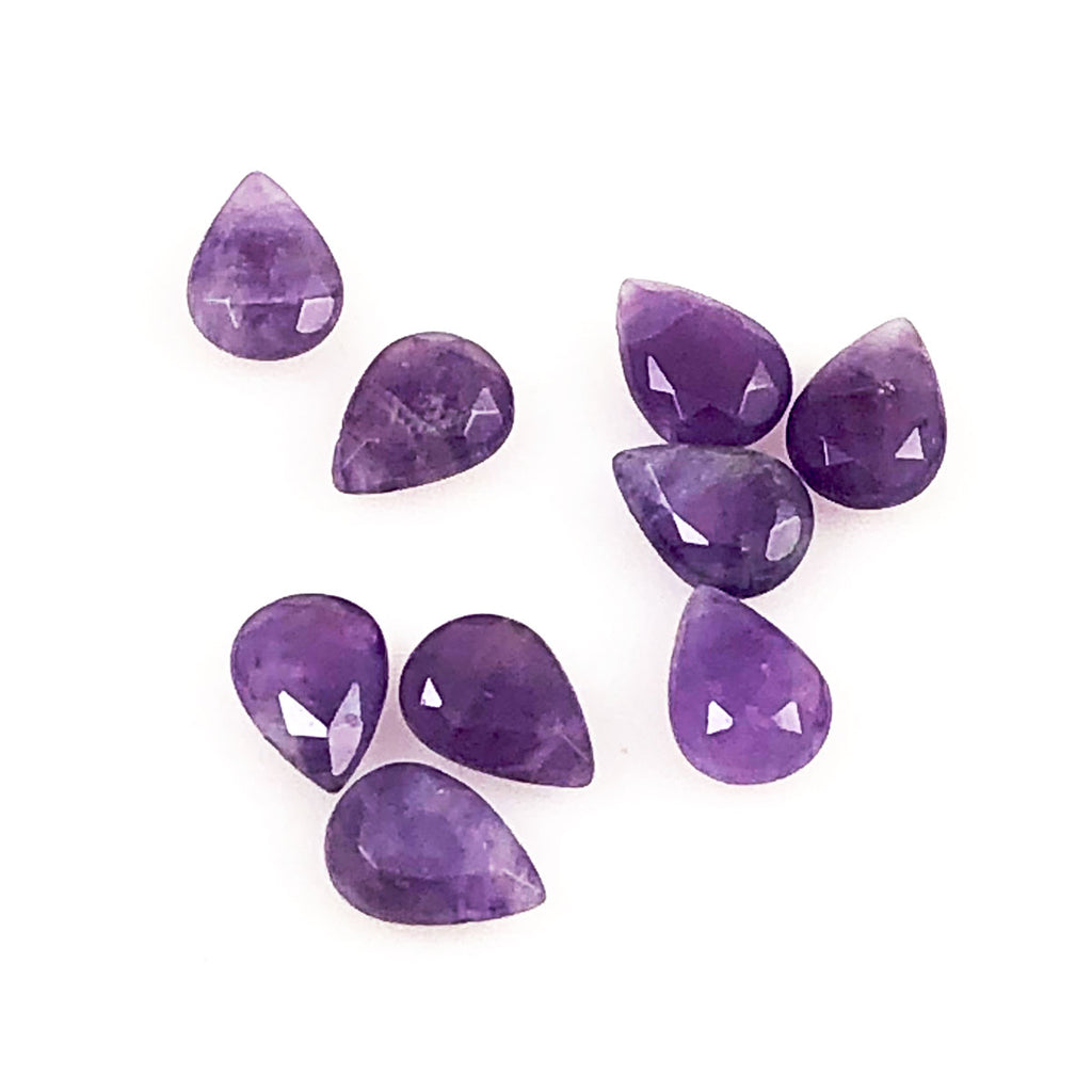 Amethyst Faceted Flat Briolettes Pairs