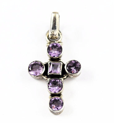 Sterling & Amethyst Gemstone Cross