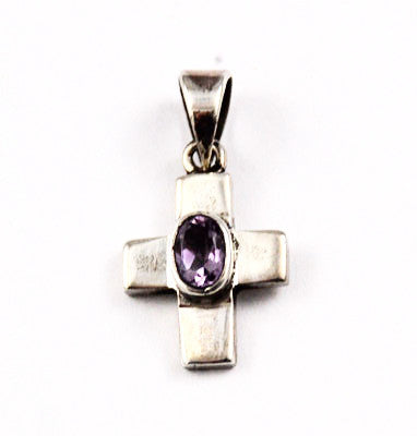 Small Sterling & Amethyst Gemstone Cross