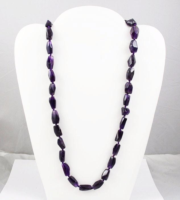 Amethyst Nugget Bead Necklace with Sterling Clasp