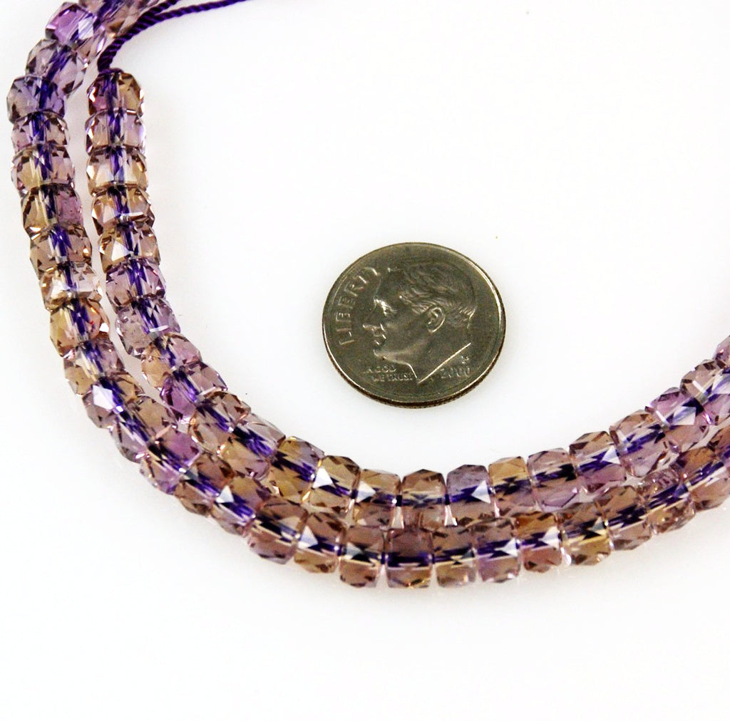 Ametrine Faceted Rondelle Beads 6mm