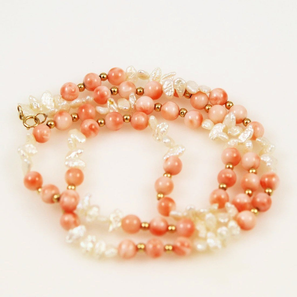 Angel Skin Coral & Keshi Pearl Necklace