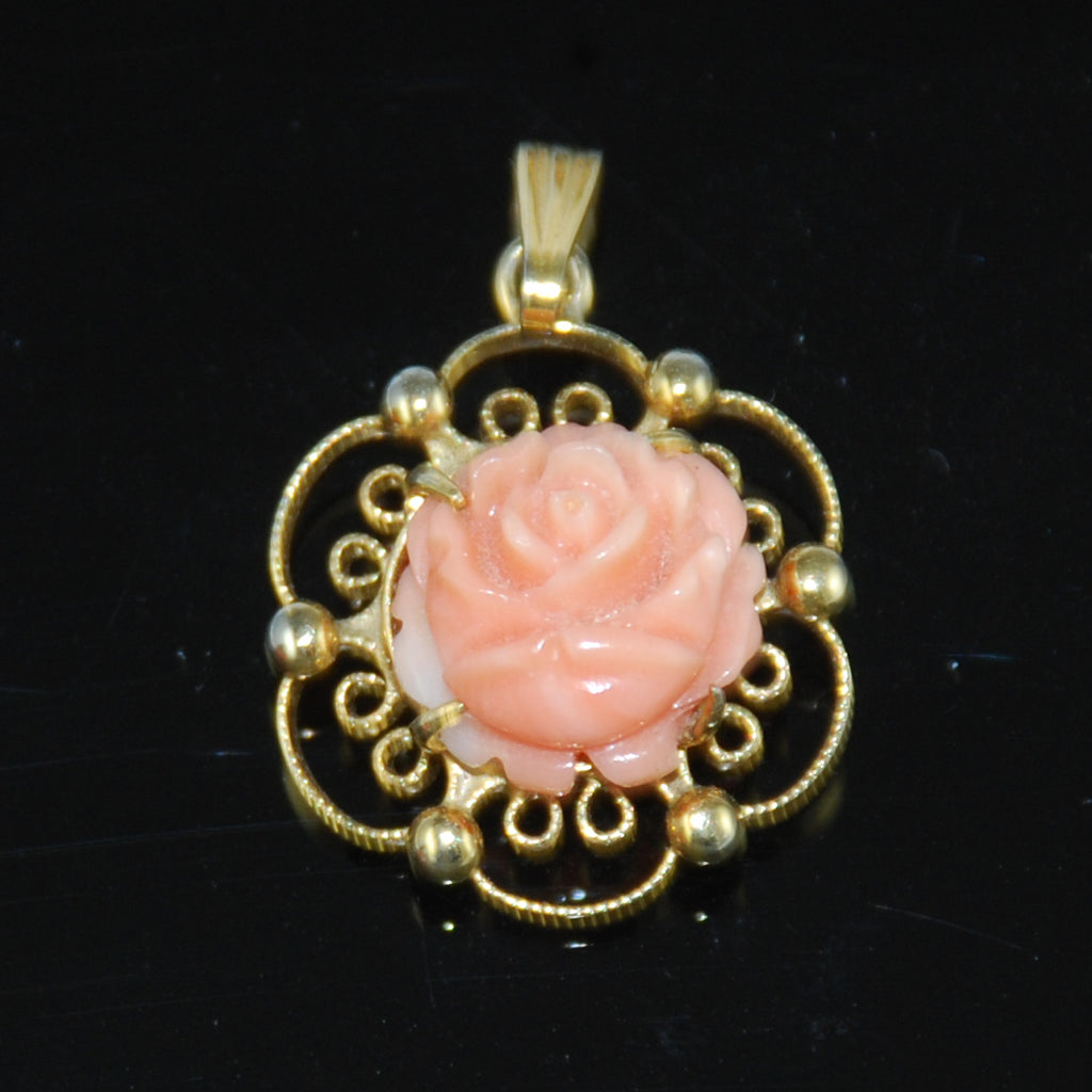 Angel Skin Coral Gold Pendant by Sorrento