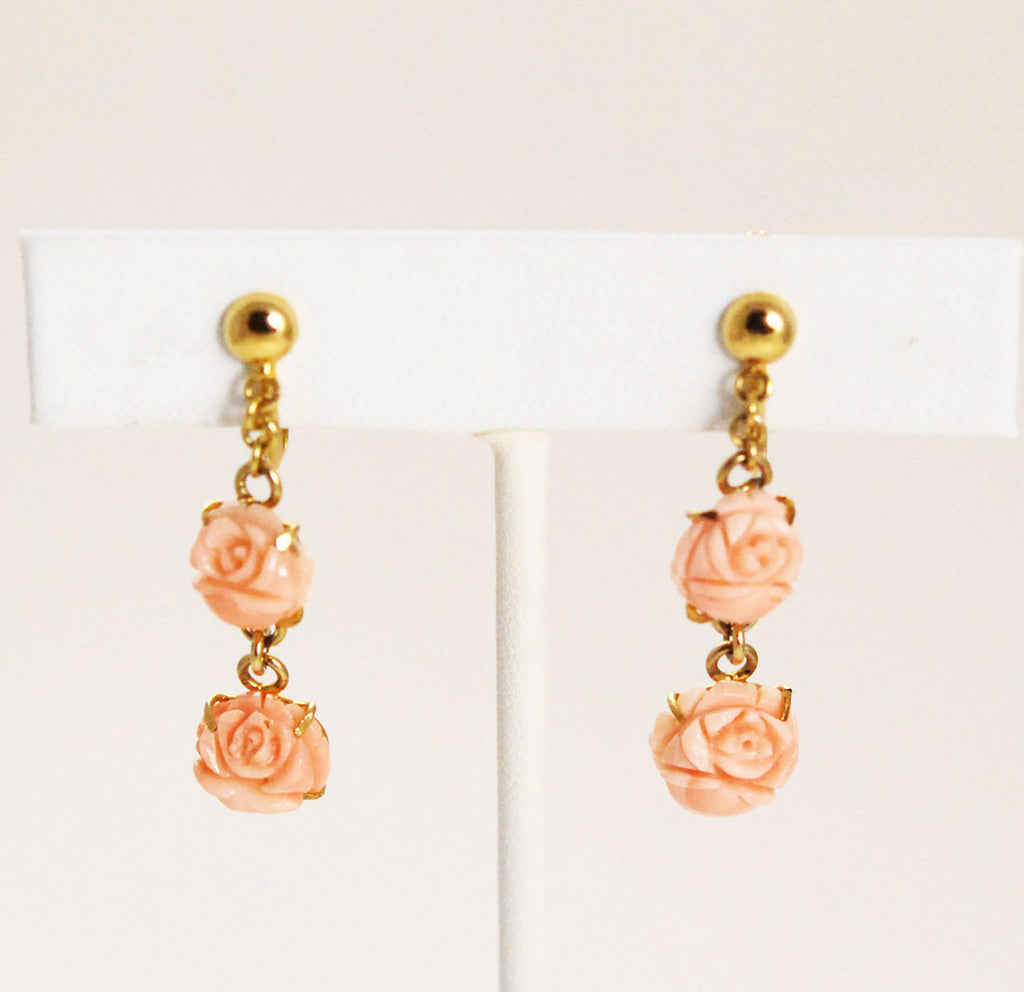 Angel Skin Coral Carved Floral Earrings Screwbacks