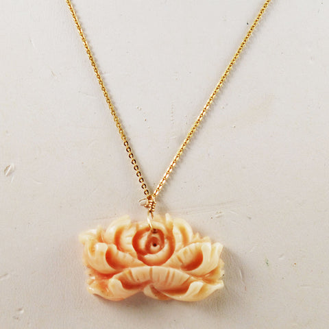 Angel Skin Coral Pendant on 14K Gold Chain Necklace
