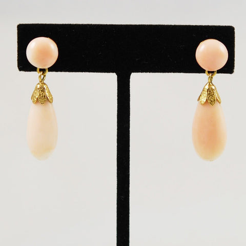 Italian Angel Skin Coral & 18K Gold Earrings