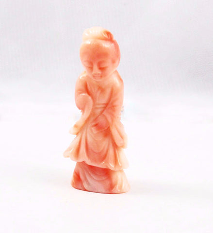 Angel Skin Coral Japanese Geisha Figurine or Netsuke