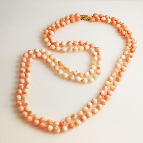 Double Strand Angel Skin Coral Necklace
