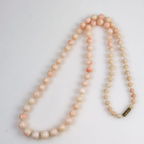 Angel Skin Coral Necklace 6-10mm Opera Length