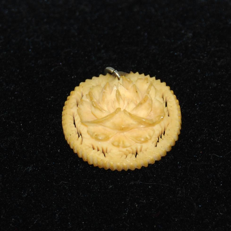 Antique Carved Ivory Rose Pendant
