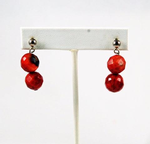 Apple Coral Faceted Pierced Earrings