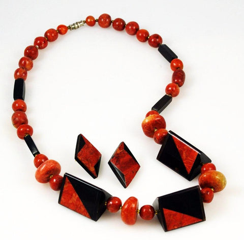 Apple & Red  Coral Necklace & Earring Set Vintage
