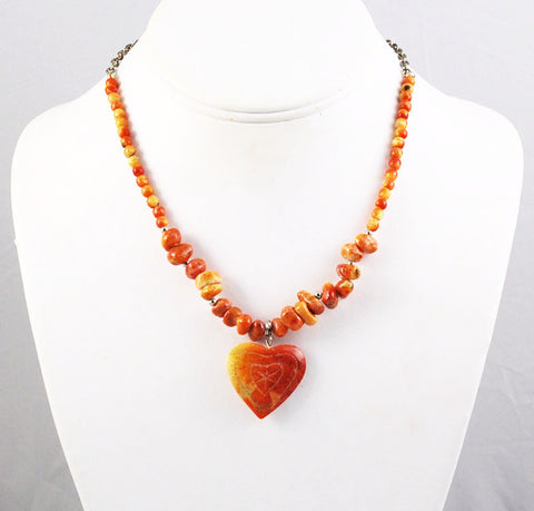 Apple Coral Heart Necklace Vintage