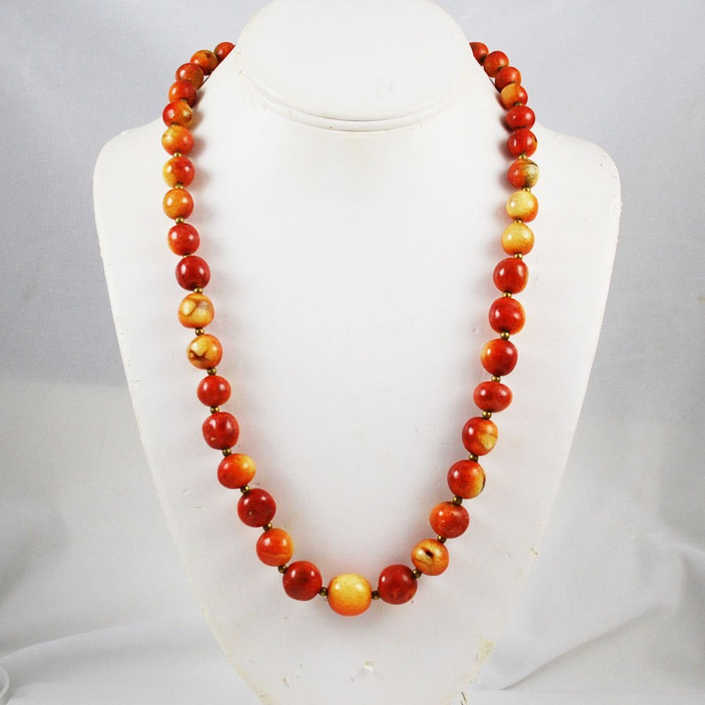Apple Coral Graduated Necklace Vintage