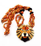 Apple Coral Lion Pendant Necklace Vintage