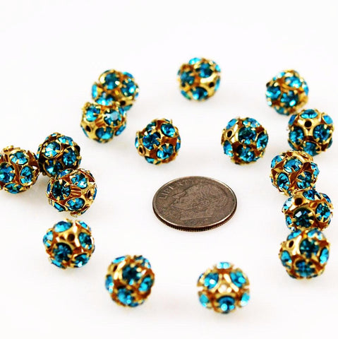 Swarovski 10mm Aquamarine Rhinestone Crystal Balls Gold Plated