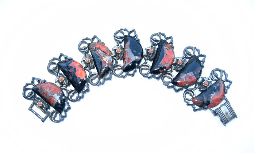 Vintage Black and Red Art Glass Bracelet