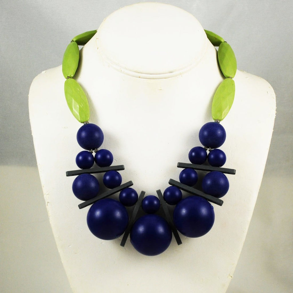 Bold Purple & Green Designer Necklace by David Aubrey