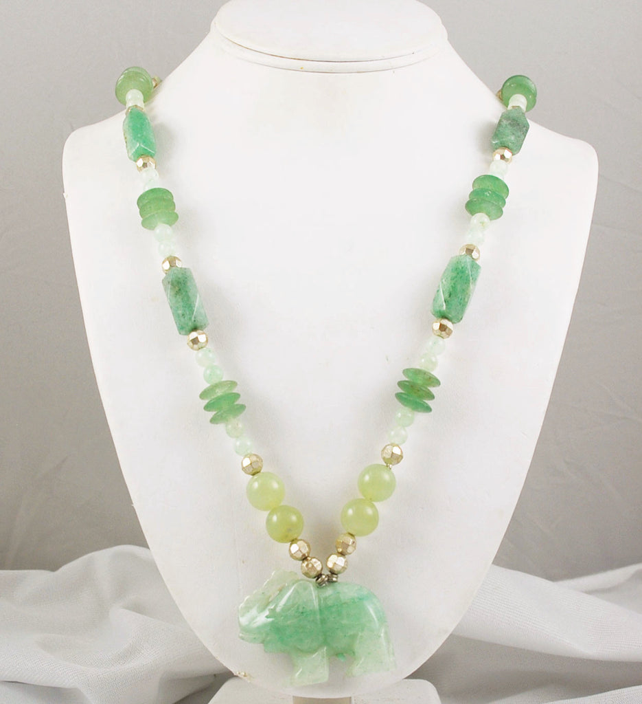 Green Aventurine Gemstone Elephant Beaded Necklace