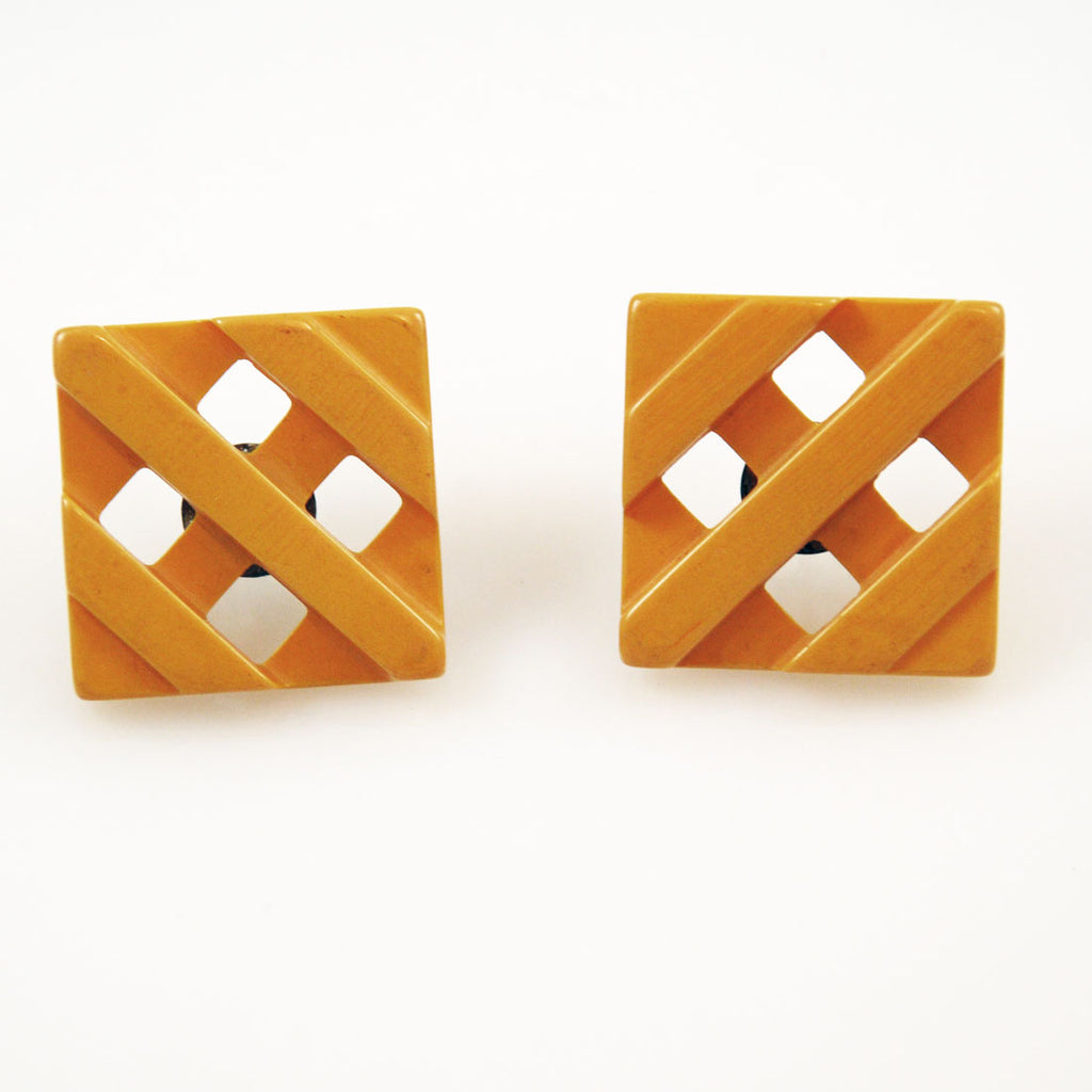 Butterscotch Bakelite Earrings Art Deco