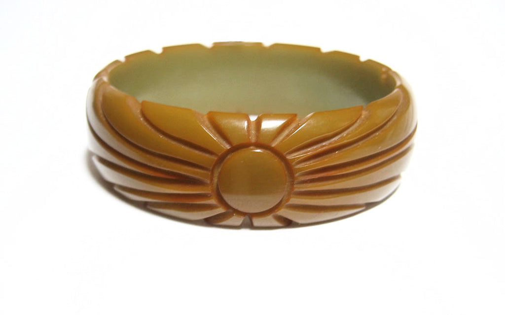 Art Deco Carved Olive Bakelite Bangle Bracelet