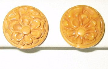 Butterscotch Bakelite Floral Earrings