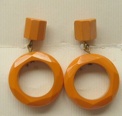 Art Deco Butterscotch Bakelite Hoop Earrings