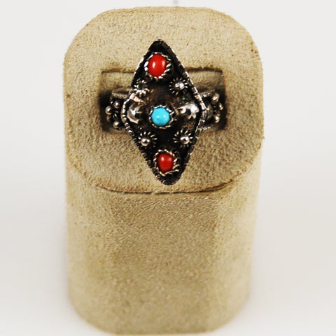Turquoise , Coral & Silver Bali Ring