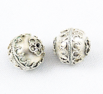Large Bali Sterling Silver Beads 17mm