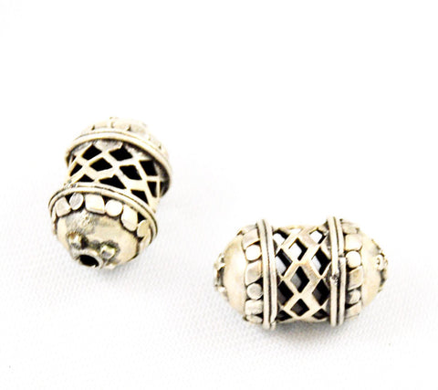 Large Open Work Hollow Sterling Silver Beads 16 x 25mm