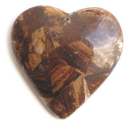 Dark Brown Banana Bark Inlay Heart Pendant