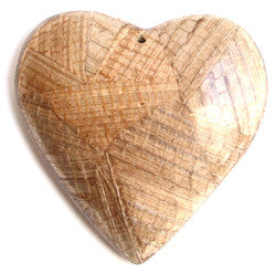 Light Brown Banana Bark Inlay Heart Pendant