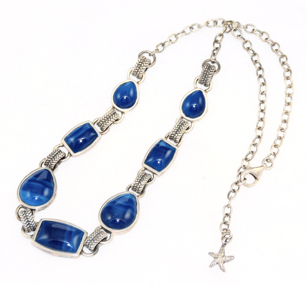 Barse Sterling & Blue Agate Necklace