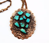 Vintage Bell Trading Post Copper & Turquoise Necklace