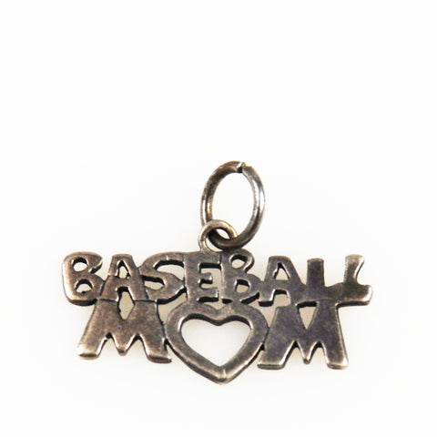 Baseball Mom Sterling Silver Vintage Charm