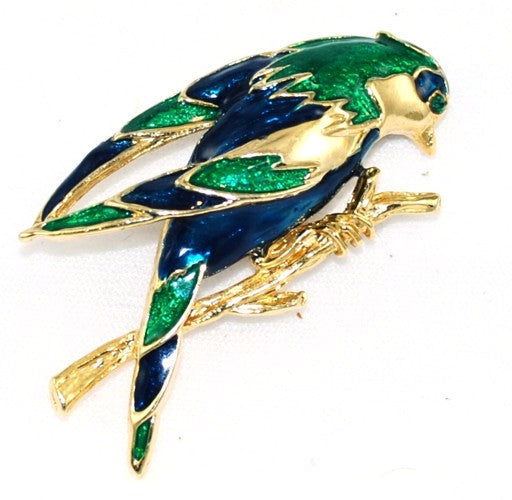 Colorful Enamel Bird Brooch Vintage