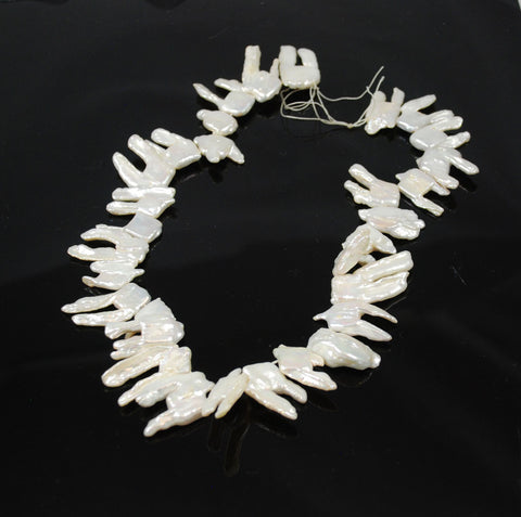 White Biwa Stick Pearls Beads Strand