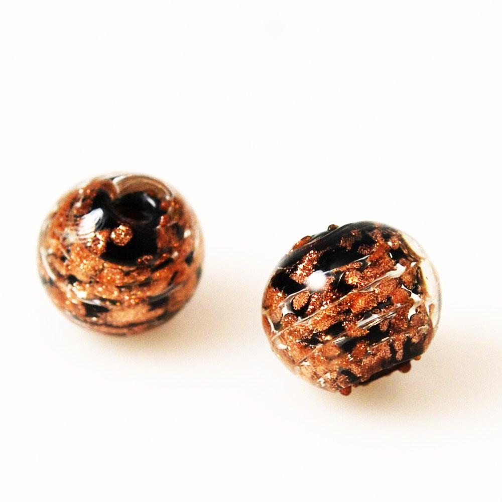 Black and Copper Murano Lamp Work Beads