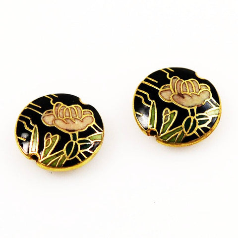 Black Cloisonne Lentil Beads Chinese 16mm (4)